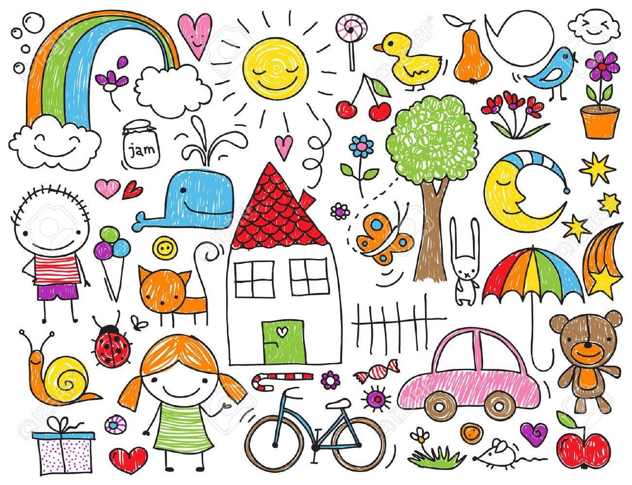 29462393-Raccolta-di-disegni-svegli-dei-bambini-di-bambini-animali-natura-oggetti-Archivio-Fotografico