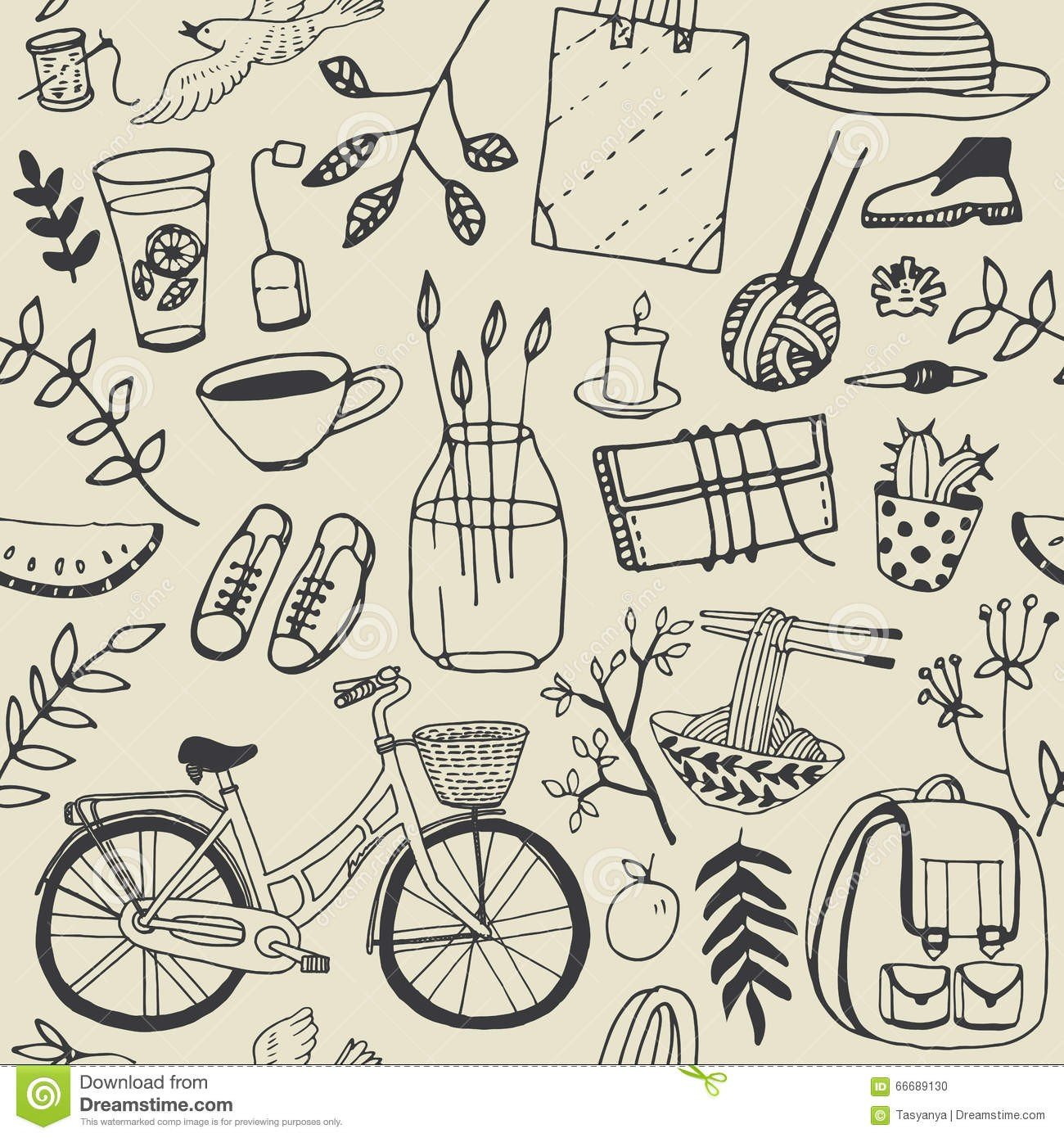 summer-good-mood-doodles-set-hand-draw-flowers-bicycle-backpack-food-illustration-cute-background-66689130